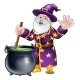 Wizard and Cauldron Cartoon Character