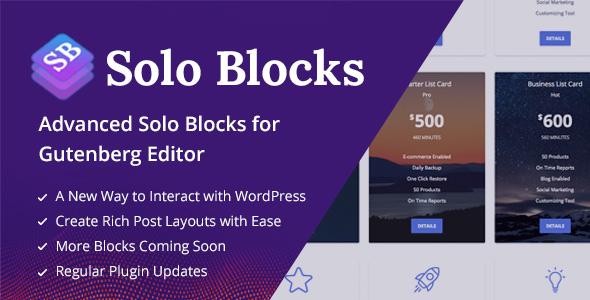 SoloBlocks - Blocks for WordPress Gutenberg Editor            Nulled
