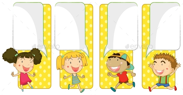 Banner Template With Boys And Girls - People Characters