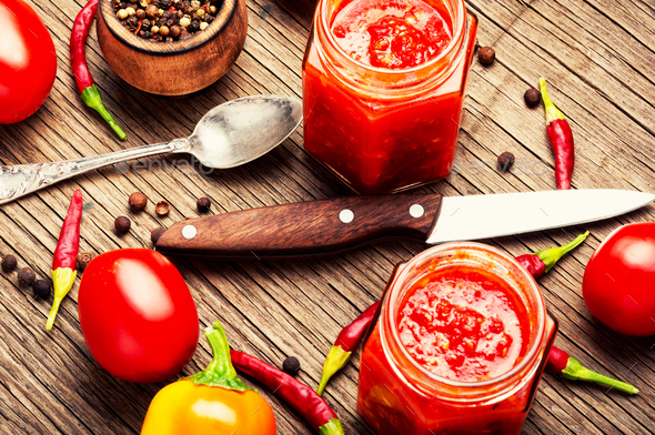 Spicy seasoning, sauce - Stock Photo - Images