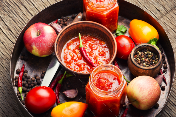 Spicy seasoning, sauce - Stock Photo - Images