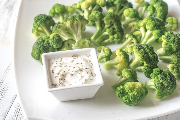Cooked broccoli with greek yogurt - Stock Photo - Images