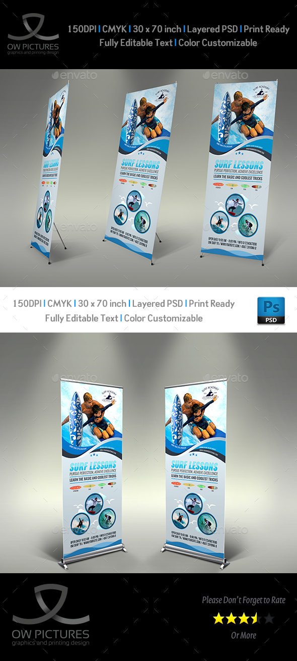 Surf Training Signage Banner Roll Up Template - Signage Print Templates