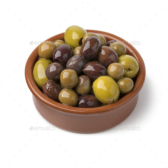 Traditional bowl with spanish olives - Stock Photo - Images