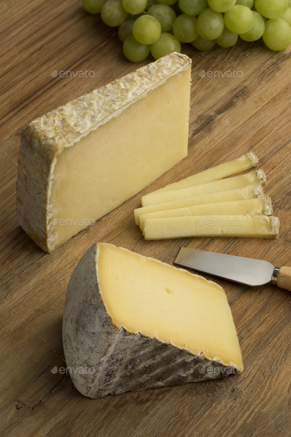 French Tomme de Montagne and Cantal cheese - Stock Photo - Images