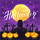 Halloween Background with Pumpkins on Cemetery and Moon - GraphicRiver Item for Sale