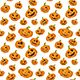 Seamless Background with Smiling Pumpkins