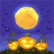 Happy Halloween Pumpkins on Night Background - GraphicRiver Item for Sale