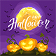 Happy Halloween and Pumpkins on Night Background - GraphicRiver Item for Sale