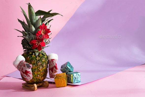 pineapple christmas tree with winter mittens and Christmas flowers on green leaves - Stock Photo - Images