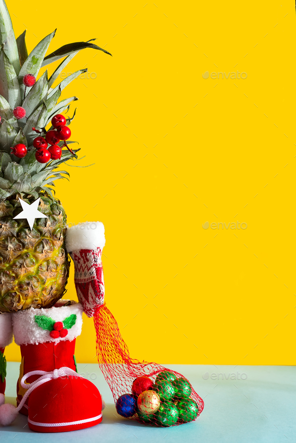 Christmas Pineapple.Christmas Pineapple In Santa Boots Winter Mittens And A Bag Of Chocolate Colored Candies