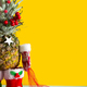 Christmas pineapple in santa boots, winter mittens and a bag of chocolate colored candies - PhotoDune Item for Sale