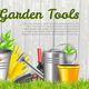 Realistic Garden Tools Horizontal Illustration