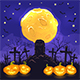 Halloween Night Background with Pumpkins on Cemetery and Moon - GraphicRiver Item for Sale