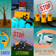 Ecological Problems Flat Cards - GraphicRiver Item for Sale