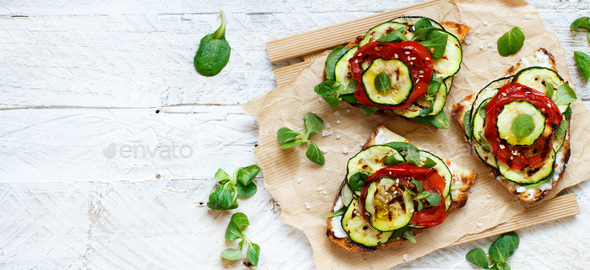 Sandwich with grilled vegetables - Stock Photo - Images