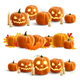 Pumpkins and Candles Realistic Compositions - GraphicRiver Item for Sale