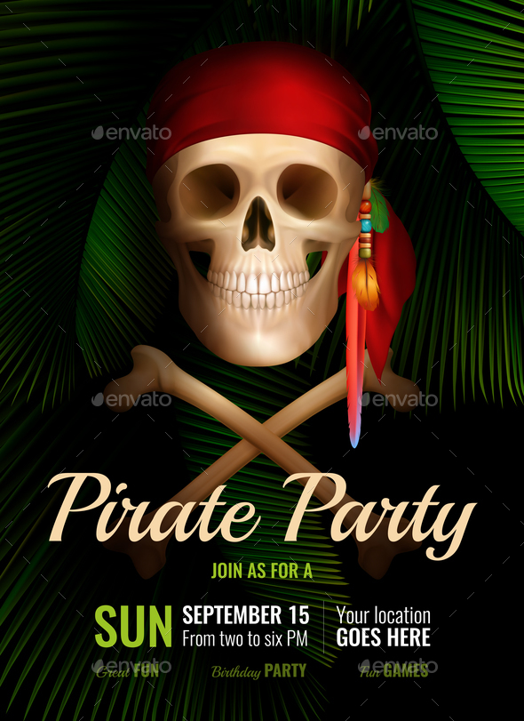 Pirate Party Realistic Poster - Halloween Seasons/Holidays