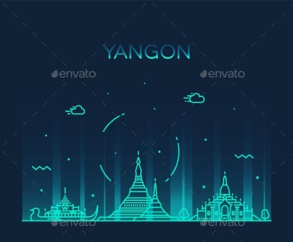 Yangon Skyline - Buildings Objects
