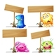 Wooden Sign Template With Monsters - GraphicRiver Item for Sale