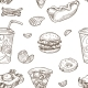Fast Food Burgers and Soda Drinks Seamless Pattern - GraphicRiver Item for Sale