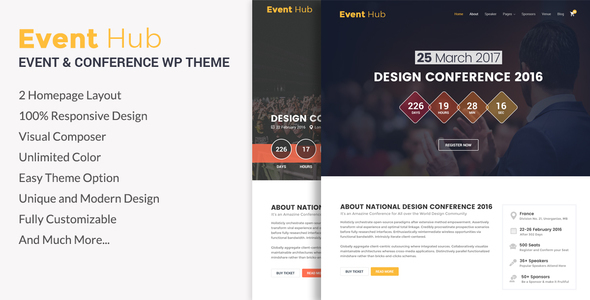 Event Hub- Event, Conference WordPress Theme - Events Entertainment