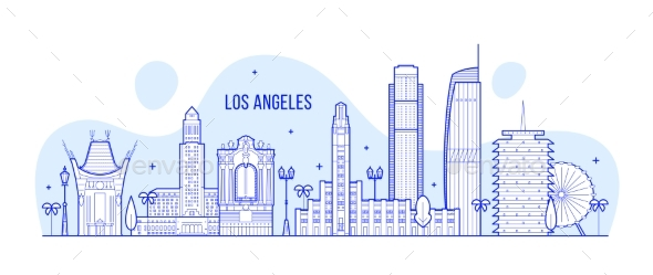 Los Angeles Skyline USA City Buildings Vector - Buildings Objects