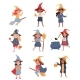 Girls Dressed As a Witches Set - GraphicRiver Item for Sale
