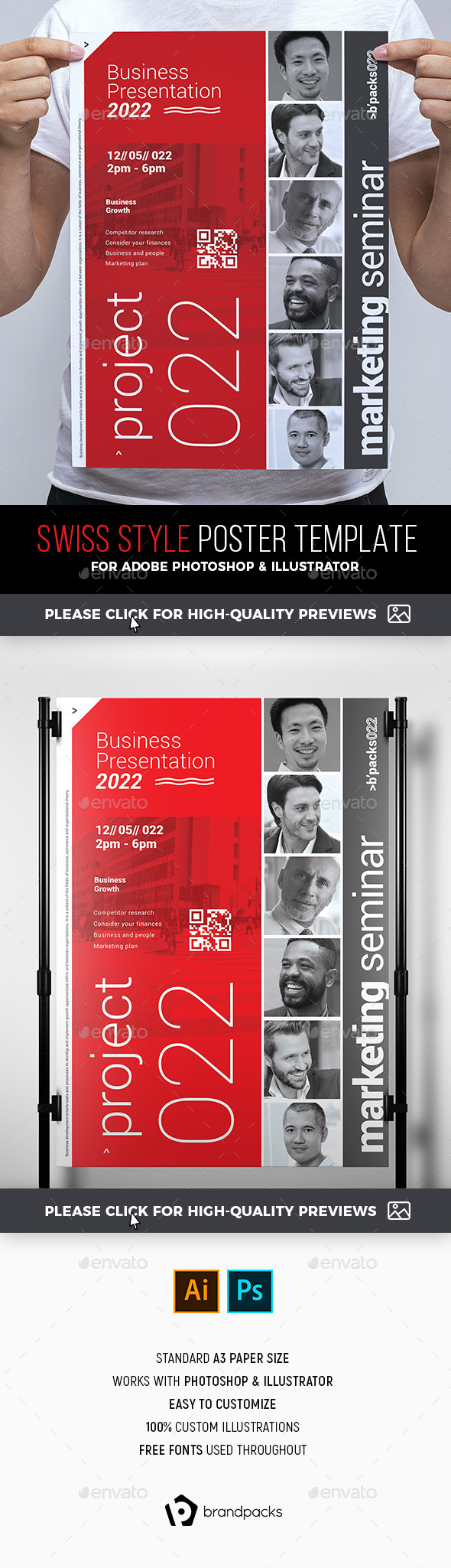 Swiss Style Poster Template - Corporate Flyers