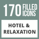 170 Hotel & Relaxation Filled Round Corner Icons - GraphicRiver Item for Sale
