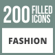 200 Fashion Filled Round Corner Icons - GraphicRiver Item for Sale