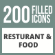 200 Restaurant & Food Filled Round Corner Icons - GraphicRiver Item for Sale