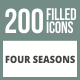 200 Four Seasons Filled Round Corner Icons