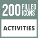 200 Activities Filled Round Corner Icons - GraphicRiver Item for Sale