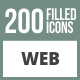 200 Web Filled Round Corner Icons