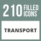 210 Transport Filled Round Corner Icons