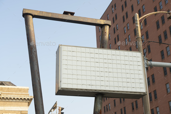 A Blank Marquee Business Sign Downtown City Corner - Stock Photo - Images