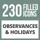230 Observances & Holiday Filled Round Corner Icons - GraphicRiver Item for Sale