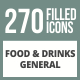 270 Food & Drinks General Filled Round Corner Icons - GraphicRiver Item for Sale
