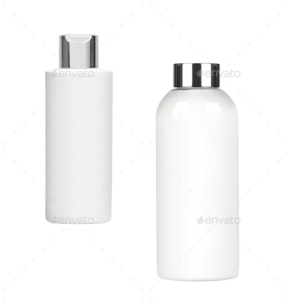 white shampoo bottles isolated on white - Stock Photo - Images