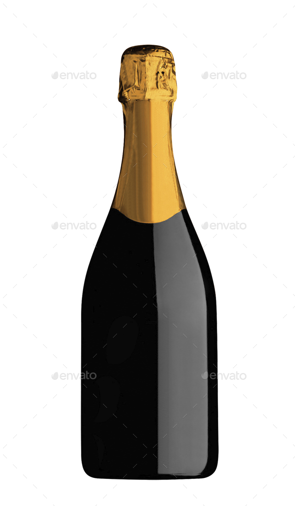 Champagne bottle and champagne glass isolated on white background - Stock Photo - Images