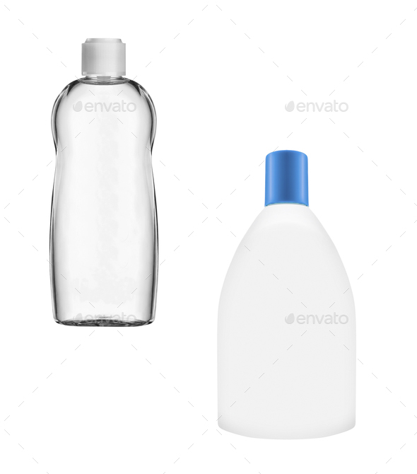 bottles of shampoo isolated on white background - Stock Photo - Images