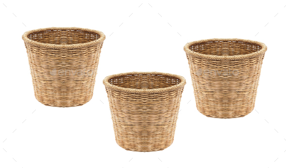 Empty wicker baskets isolated on white - Stock Photo - Images