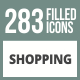 283 Shopping Filled Round Corner Icons