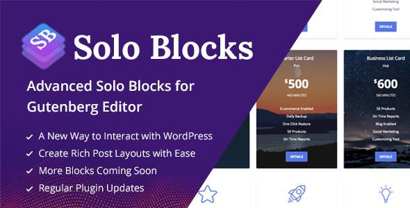 SoloBlocks - Blocks for WordPress Gutenberg Editor - CodeCanyon Item for Sale