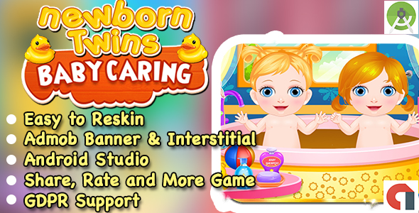 New Born Twins Baby Caring Game + Admob + Ready For Publish + Android Studio            Nulled