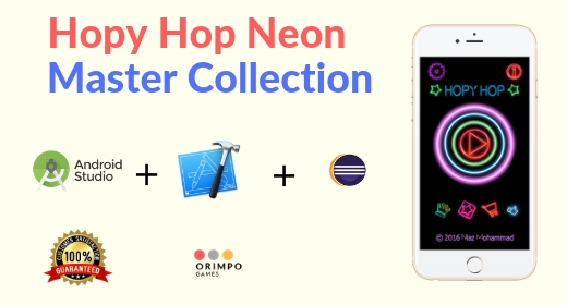 Hopy Hop Neon - iOS and XCode + Android Studio + Eclipse project collection
