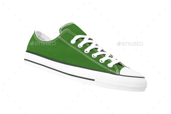 new green sneakers isolated on white background - Stock Photo - Images
