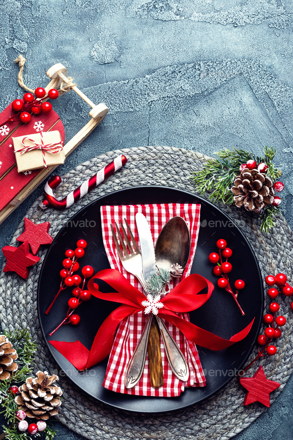 Christmas decoration. Festive plate and cutlery with Christmas decoration. Christmas background - Stock Photo - Images