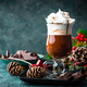 Hot chocolate with whipped cream with Christmas decorations - PhotoDune Item for Sale
